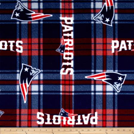 NFL New England Patriots Plaid Fleece Red/Blue Fabric