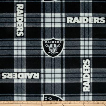 NFL Oakland Raiders Plaid Fleece Black/White Fabric By The Yard