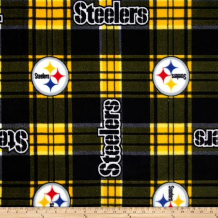 NFL Pittsburgh Steelers Plaid Fleece Black/Yellow Fabric By The Yard
