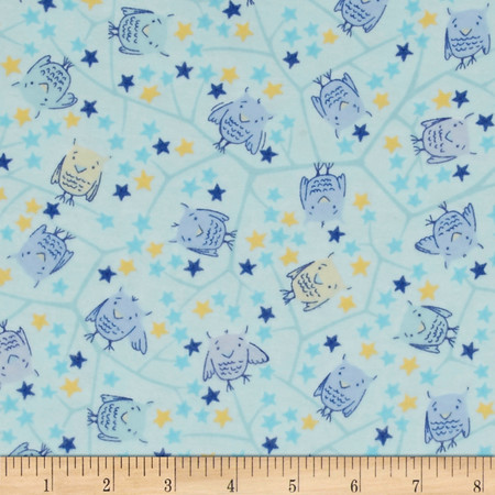 Naptime Nursery Flannel Baby Owls Blue Fabric By The Yard