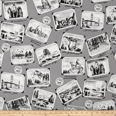 National Parks Postcard Gray Fabric By The Yard