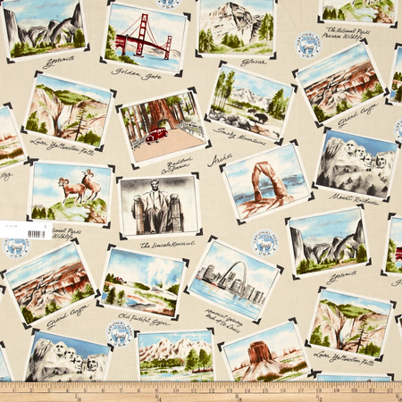National Parks Postcard Khaki Fabric By The Yard