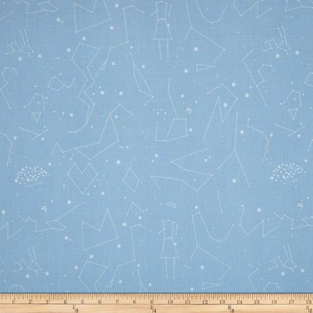 Natural History Constellations Silver/Blue Fabric By The Yard