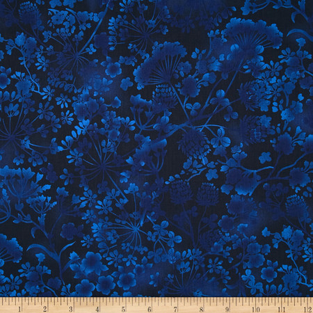 Natural Wonders Wildflower Silhouettes Navy Fabric By The Yard