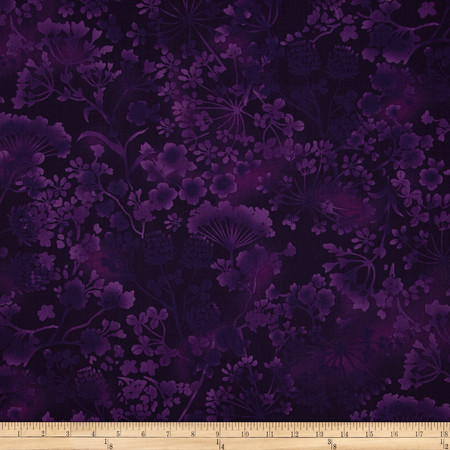 Natural Wonders Wildflower Silhouettes Purple Fabric By The Yard