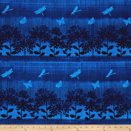 Nature Studies Repeating Stripe Indigo Fabric By The Yard