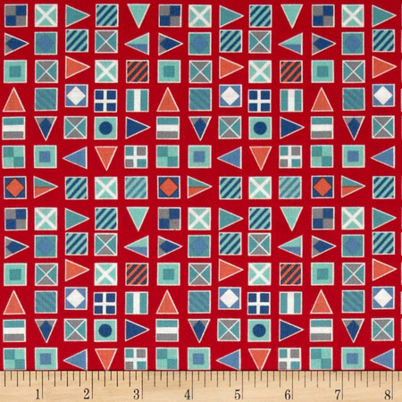 Nautical Flags Red Fabric