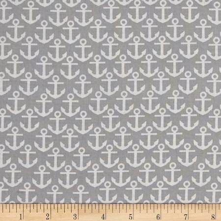 Nautical Treasure Anchors Gray Fabric