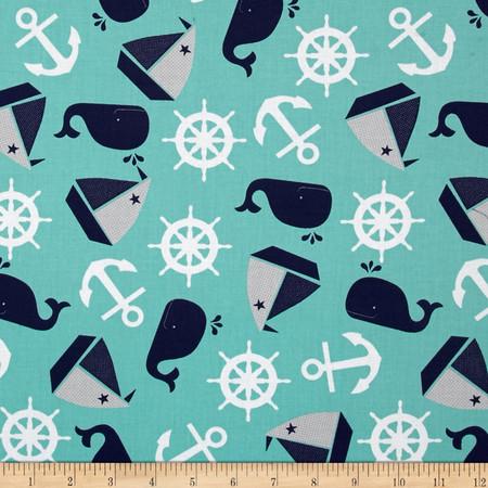 Nautical Treasure Tossed Nautical Dark Turquoise Fabric