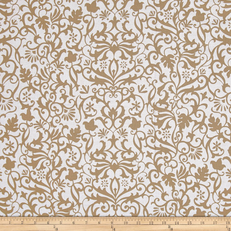 Near and Deer Damask Tan Fabric By The Yard