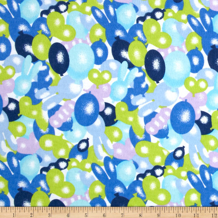 Newcastle Flannel Bunny Balloon Lagoon Fabric By The Yard