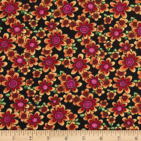 Newcastle Novelties Summer Bouquet Black Fabric