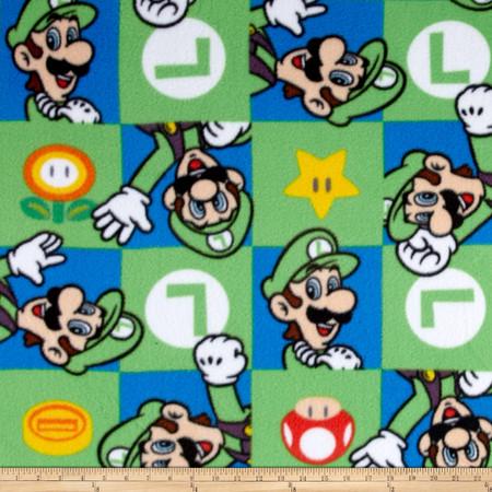 Nintendo Super Mario Fleece Luigi Hands Up Green Fabric By The Yard