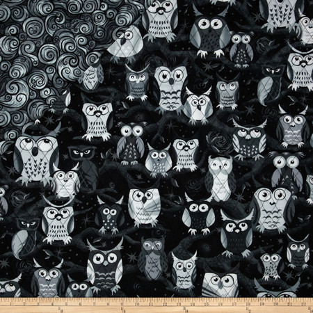 Nite Owls Double Sided Quilted Large Owls Gray Fabric