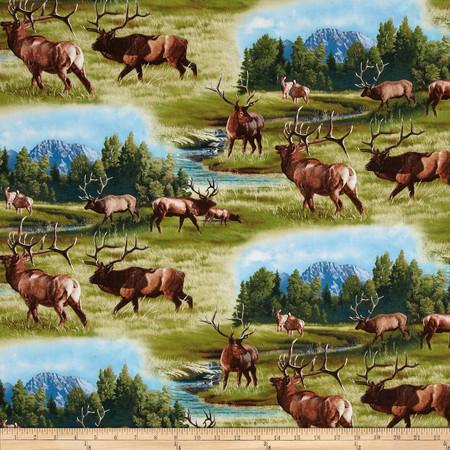 North American Wildlife Elk Green Fabric By The Yard