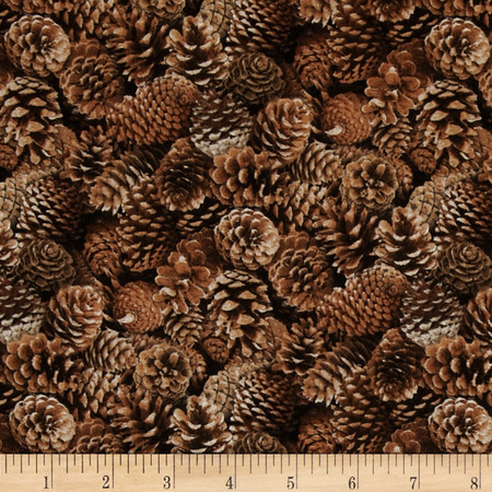 North American Wildlife Pinecones Brown Fabric By The Yard