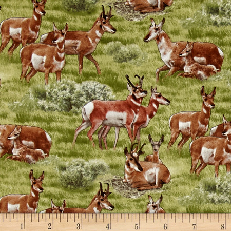 North American Wildlife Pronghorn Antelope Green Fabric By The Yard