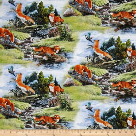 North American Wildlife Red Fox Blue Fabric