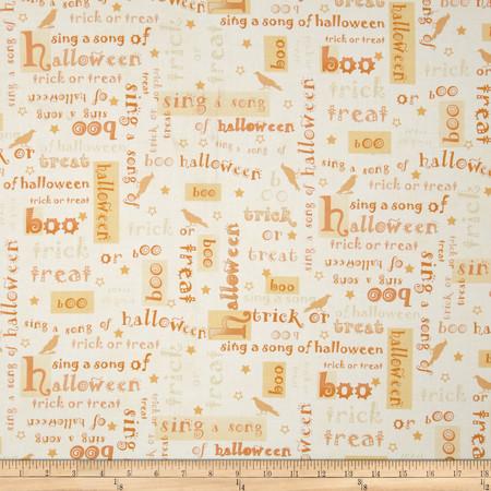 Not So Spooky Words Cream Fabric