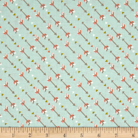 Not So Wild West Arrows Soft Blue Fabric By The Yard