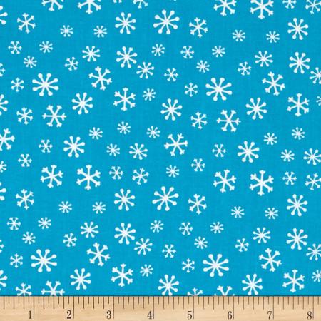 Novelty Christmas Snowflakes Aqua Fabric By The Yard
