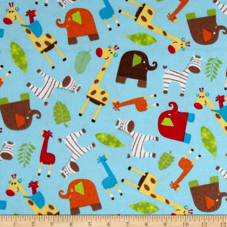 Novelty Niche Flannel Jungle Animals Blue  Fabric