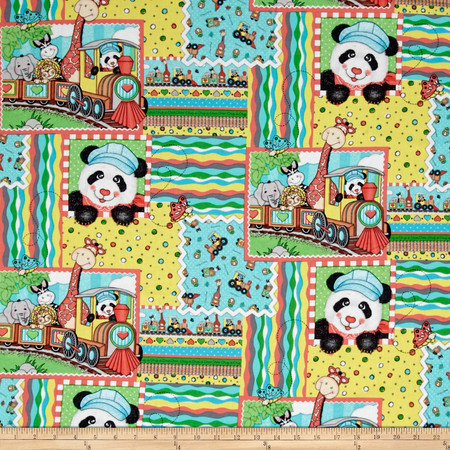 Nursery Bazooples Choo Choo Patch Multi Fabric By The Yard