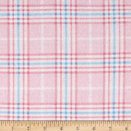 Nursery Plaid Flannel Pink Fabric By The Yard