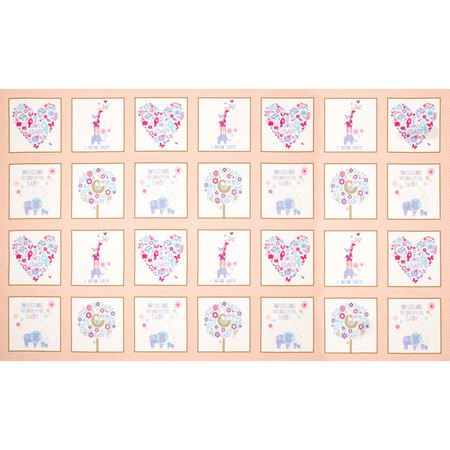 OOO Baby Flannel Patchwork Panel Peach Fabric
