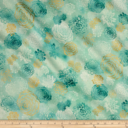 Oasis Metallic Summer Blooms Jade Fabric By The Yard
