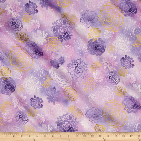 Oasis Metallic Summer Blooms Thistle Fabric By The Yard