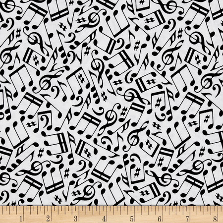 Odds And Ends Cacophony Black On White Fabric By The Yard