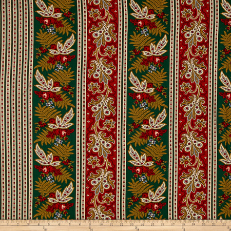 Old Sturbridge Village Stripe Green Fabric By The Yard
