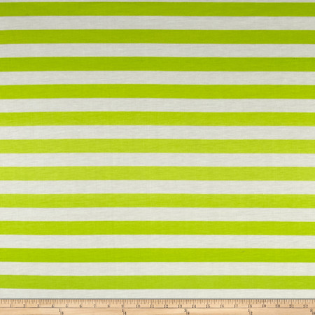 Ombre Jersey Knit Stripe Green/Lime Fabric By The Yard