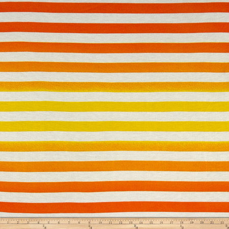 Ombre Jersey Knit Stripe Orange/Yellow Fabric By The Yard