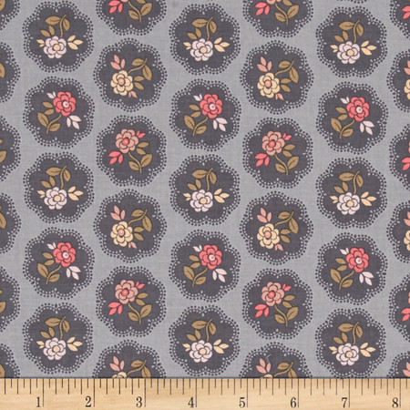 On Plumberry Lane Floral Grey Fabric By The Yard