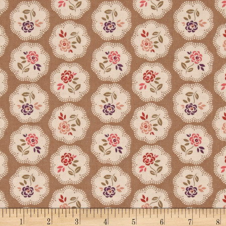 On Plumberry Lane Floral Tan Fabric By The Yard
