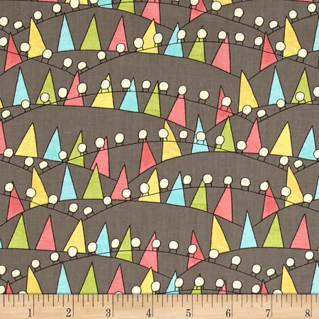 On The Road Again Bunting And Lights Gray Fabric By The Yard