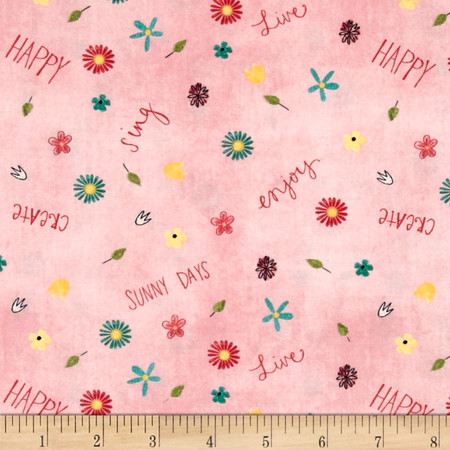 On The Road Again Small Floral Pink Fabric By The Yard