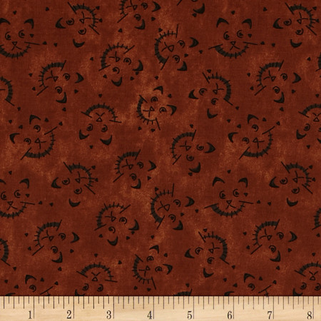 On the Web Cat Texture Dark Rust Fabric By The Yard