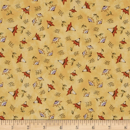On the Web Small Flowers Gold Fabric By The Yard