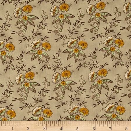 Ophelia Med Floral Cluster Cocoa Fabric