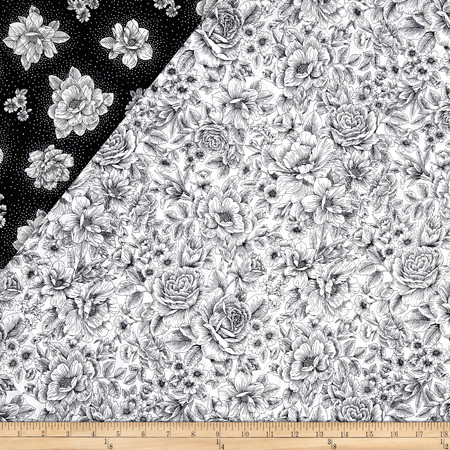 Opposites Attract Double Sided Quilted Toile Black/White Fabric By The Yard