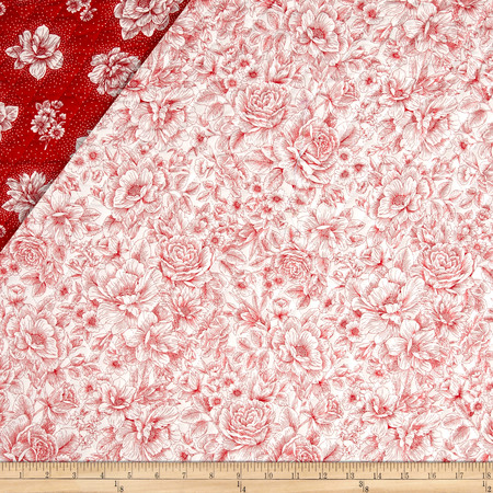 Opposites Attract Double Sided Quilted Toile Red/White Fabric By The Yard