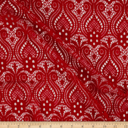 Ornamental Lace Red Fabric By The Yard
