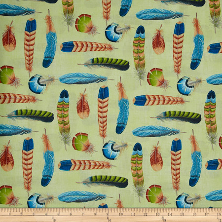 Ornithology Feathers Light Green Multi Fabric By The Yard
