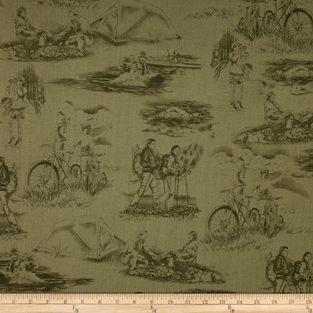 Our National Parks Toile Green Fabric