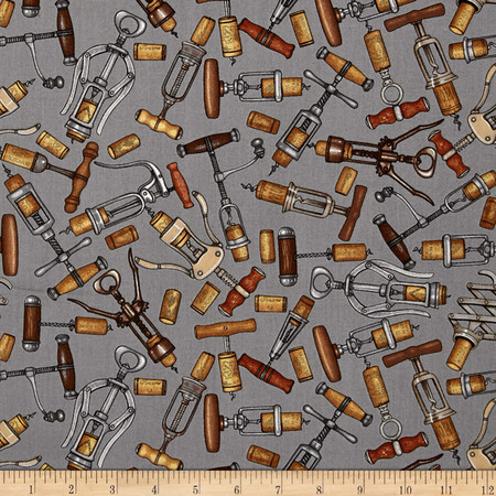Over a Barrel Corkscrews Grey Fabric By The Yard