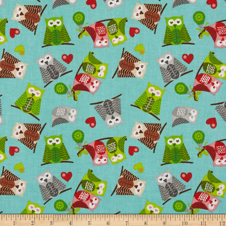 Owl Christmas Owls Blue Fabric
