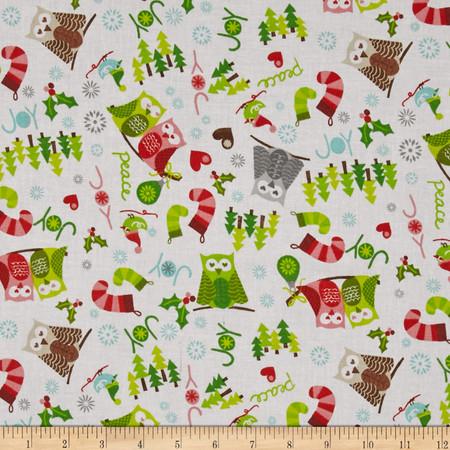 Owl Christmas Stockings Snowflakes & Owls White Fabric